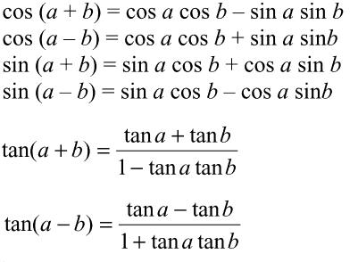 Les formules de trigonométrie. Test et entraînement